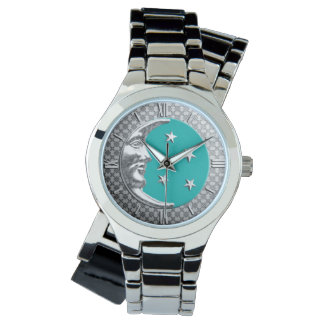 Art Deco Moon and stars - Turquoise & Silver Wristwatch