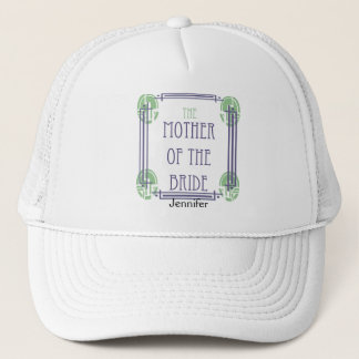Art Deco Mother of the Bride in Purple and Green Trucker Hat
