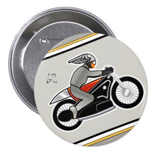 "Art Deco Motorcycle (3"" pin) Pinback Button"