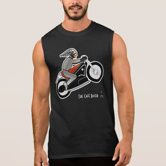 Art Deco Motorcycle with Winged-Helmet Rider Sleeveless Shirt