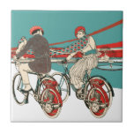 """Art Deco Motorcycling Ceramic Tile<br><div class=""""desc"""">Man and woman on art deco vintage motorcycles in the country.</div>"""