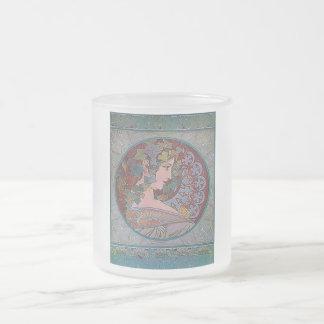 Art Deco Mucha Woman mosaic Frosted Glass Coffee Mug