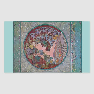 Art Deco Mucha Woman mosaic Rectangular Sticker