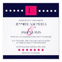 Art Deco Navy Pink Monogram D Wedding Invitations