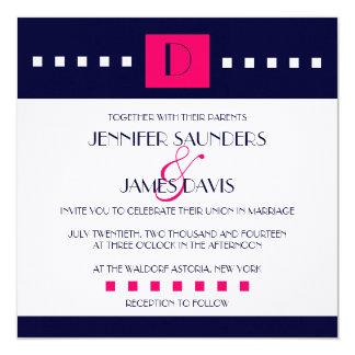"Art Deco Navy Pink Monogram D Wedding Invitations 5.25"" Square Invitation Card"