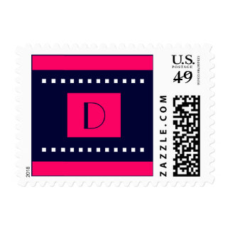 Art Deco Navy Pink Wedding Monogram D Postage