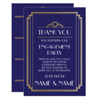 Art Deco Navy Thank You Engagement Wedding Cards