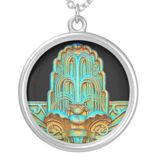 Art Deco-Necklace Round Pendant Necklace