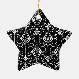 Art déco, negro, blanco, plata retra; Elegante Ornamento Para Arbol De Navidad