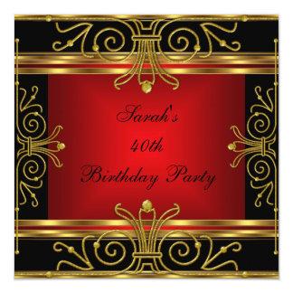 Art déco negro rojo 2 del oro del 40.o cumpleaños invitación 13,3 cm x 13,3cm