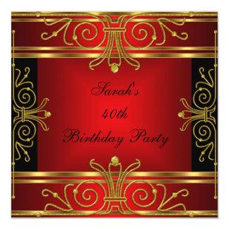 Art déco negro rojo del oro del 40.o cumpleaños invitación 13,3 cm x 13,3cm
