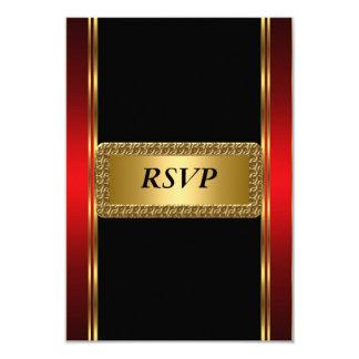 Art déco negro rojo RSVP del oro Invitacion Personal