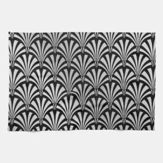 Art déco negro y de plata elegante toalla de cocina