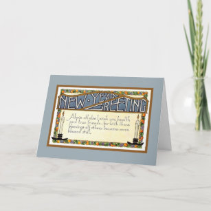 art deco new year greeting verse blue holiday card