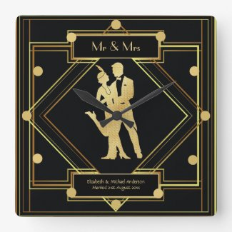 Art Deco Newlyweds 1920s Couple Black Gold Custom Square Wall Clock
