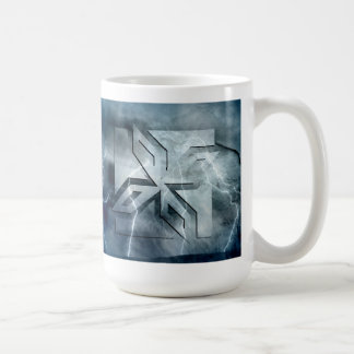 Art Deco Ninja Star Icon, Galaxy lightning overlay Coffee Mug