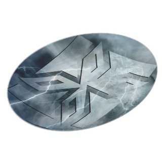 Art Deco Ninja Star Icon, Galaxy lightning overlay Plate