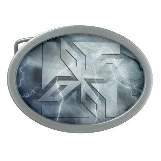 Art Deco Ninja Star Icon, stone lightning overlay Belt Buckle