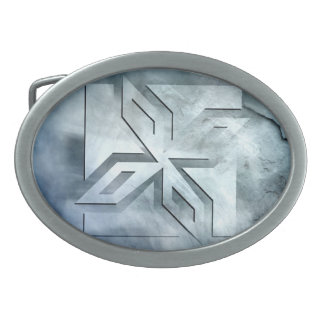 Art Deco Ninja Star Icon, stone overlay Belt Buckle