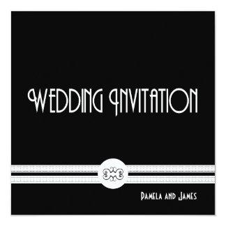 Art Deco Noir Chic Black and White Formal 5.25x5.25 Square Paper Invitation Card