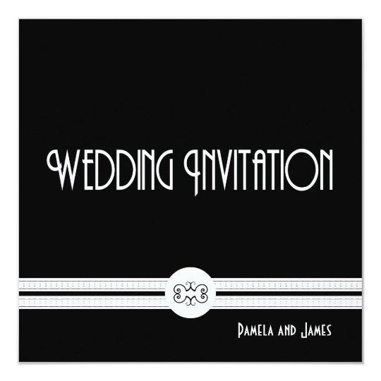 Art Deco Noir Chic Black and White Formal Wedding Card