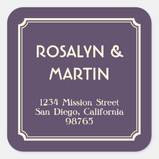Art Deco notched frame dark purple address label Square Sticker