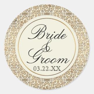 Art Deco Nouveau Faux Gold Floral Damask Lace Classic Round Sticker