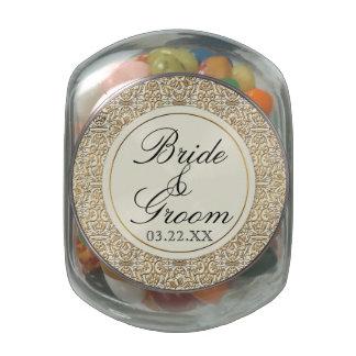 Art Deco Nouveau Faux Gold Floral Damask Lace Glass Jars
