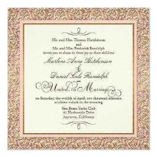 Art Deco Nouveau Faux Gold Floral Damask Lace Personalized Invitations