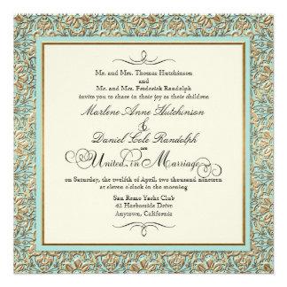 Art Deco Nouveau Faux Gold Floral Damask Lace Personalized Invitation