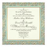 Art Deco Nouveau Faux Gold Floral Damask Lace 5.25x5.25 Square Paper Invitation Card