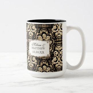 Art Deco Nouveau Faux Gold Floral Damask Lace Two-Tone Mug