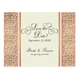 Art Deco Nouveau Faux Gold Floral Damask Lace Postcard