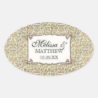 Art Deco Nouveau Faux Gold Floral Damask Lace Oval Stickers