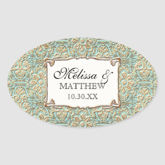 Art Deco Nouveau Faux Gold Floral Damask Lace Oval Sticker