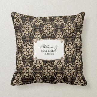 Art Deco Nouveau Faux Gold Floral Damask Lace Throw Pillow