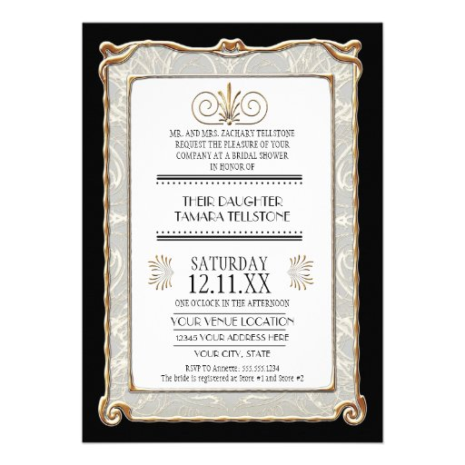 Art Deco Nouveau Gatsby Style Gold n Lace Look Invitations