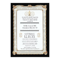 Art Deco Nouveau Gatsby Style Gold n Lace Look Invitations (<em>$2.43</em>)
