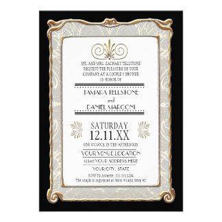 Art Deco Nouveau Gatsby Style Gold n Lace Look Custom Invitation