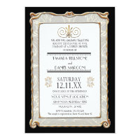 Art Deco Nouveau Gatsby Style Gold n Lace Look Custom Invitation (<em>$2.43</em>)