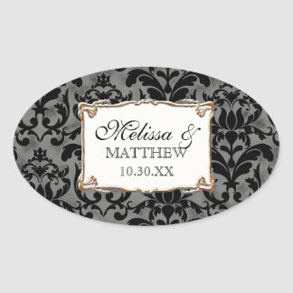 Art Deco Nouveau Gatsby Style Gold n Lace Look Oval Sticker