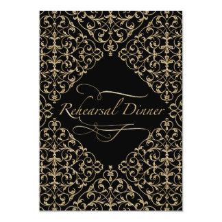 Art Deco Nouveau Lace Damask Golden Calligraphy 5x7 Paper Invitation Card