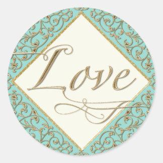 Art Deco Nouveau Lace Damask Golden Calligraphy Classic Round Sticker