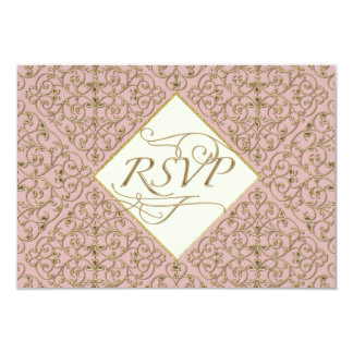 Art Deco Nouveau Lace Damask Golden Calligraphy Custom Invitation