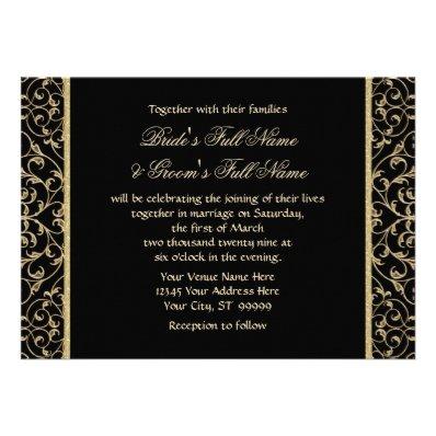 Art Deco Nouveau Lace Damask Golden Calligraphy Invitations