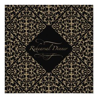 Art Deco Nouveau Lace Damask Golden Calligraphy Invitation