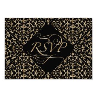 Art Deco Nouveau Lace Damask Golden Calligraphy 3.5x5 Paper Invitation Card