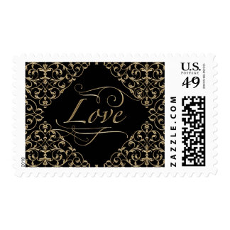 Art Deco Nouveau Lace Damask Golden Calligraphy Postage