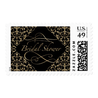 Art Deco Nouveau Lace Damask Golden Calligraphy Postage Stamp