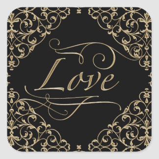 Art Deco Nouveau Lace Damask Golden Calligraphy Square Sticker